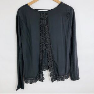 Hinge gray open back lace long sleeve blouse small